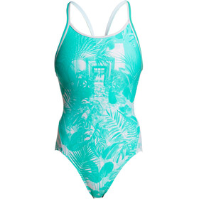 Funkita Diamond Back One Piece Badpak Dames wit/turquoise